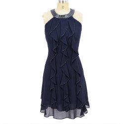 Heißer Verkaufs-Sommer Rüsche-Cocktail-Abend-Kleid für Frau bördelnd