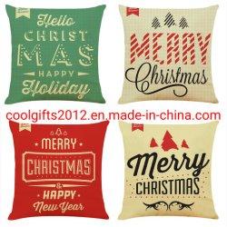 Noël jeter l'oreiller carré décoratif Textile canapé Housse de coussin Housse de coussin