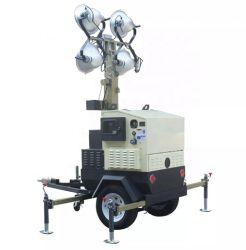 실외용 트레일러 이동식 차량 장착 긴 일자 투광 메탈 할라이드 램프 비상 Kubota 라이팅 타워 가격