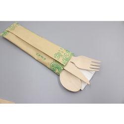 Wegwerptafelgerei natuurlijk berkenhout mes Houten lepel en vork