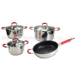 Set di utensili da cucina in acciaio inox con manico in silicone