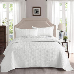 Venta caliente ligera de ropa de cama de lujo de 3 piezas Conjunto Coverlet acolchado gris colcha de retazos con almohada Shams, Grid Colcha acolchada/Coverlet/cama Cover-White