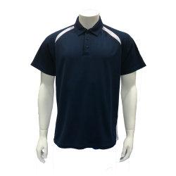 Aibort prontos para envio Office Estoque Unissexo Navy com tubulação branca camisa Polo (Polo-0606B)