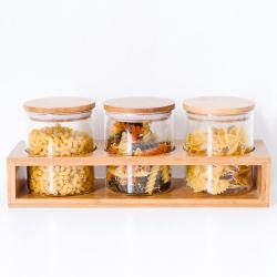 Three-Piece Glasspeicherglas mit der gedichteten Bambuskappe geeignet für Mehl, Zucker, Kaffee