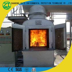 Pequeno incinerador de resíduos médicos utilizados no tratamento de lixo hospitalar