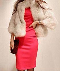 Женщин в элегантный короткое замыкание фо мех нанесите на зимний теплый мех куртка пальто Outerwear на Рождество