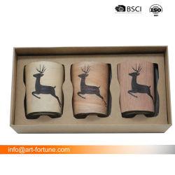 Conjunto de 3 velas de vidro com conjunto de oferta na caixa de cores para Decoração Moderna