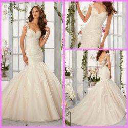 Kant bruids jurk Custom Cap Sleeves Mermaid Bruiloft jurk B5407