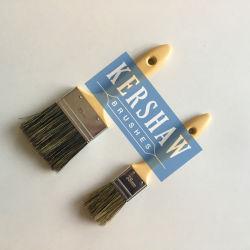 Verf Brush (penseel, 100% zuivere grijze varkenshaar vlakke borstel met plastic handvat)