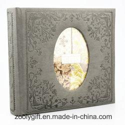 Modèle en cuir gaufré PU Album photo avec fenêtre de forme ovale -