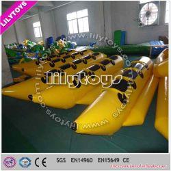 Populärer heißester Belüftung-Typ Gelb-aufblasbares Bananen-Boot für See