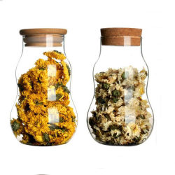 Glasspeicherglas-Glastee-Glas-hölzernes Kappen-Glas-Glas