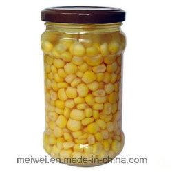 In Büchsen konservierter goldener süsser Kern-Mais in der Glasflasche