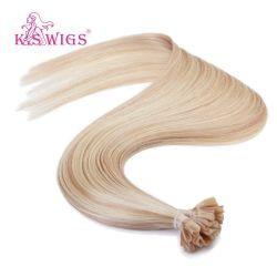 Der K.-S Perücke-erstklassiges U Inder-Menschenhaar Spitze-Nagel-Haar-Keratin-Haar-der Extensions-100%