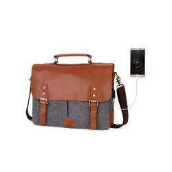 Mallette d'hommes Commerce de gros canevas sacoche pour ordinateur portable 14'' voyage mallette en cuir véritable fourre-tout
