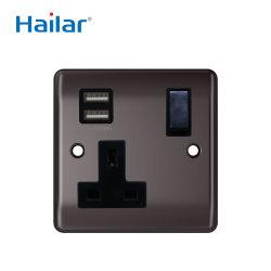 Hailar Reino Unido de la pared de níquel negro pulido 1 Módulo de toma de alimentación conmutada con puerto USB