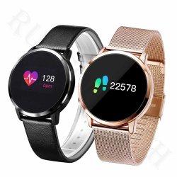 Novo Desporto Bracelete tira de couro Q8 Monitor de Ritmo de calor Vigilância inteligente