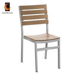 Resistente al UV Hotel Jardín Exterior de aluminio silla de comedor Muebles de madera (PWC-312)