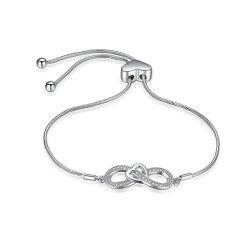 女性の方法宝石類のための925の純銀製のブレスレットの調節可能な無限魅力のブレスレット