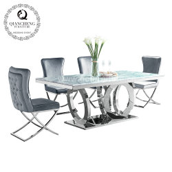 Salón comedor de mármol de acero inoxidable juego de mesa de comedor