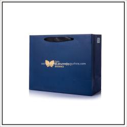 Китай поставщик Custom Печать логотипа в синий цвет матовый бумажный мешок подарков ламинирование
