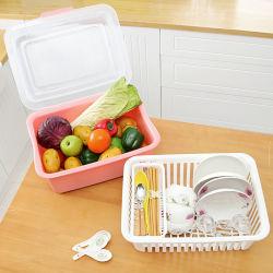 ふたの棚付けの皿の版のオルガナイザーの水切り器のバスケットが付いている二重プラスチック台所ラック