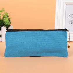 Sacchetti blu della penna delle casse di matita della chiusura lampo della tela di canapa del tessuto di grande capienza di disegno di Custmized per i capretti