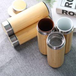 350ml/450ml/500ml sans BPA Bambou personnalisé d'origine bouteille bouteille d'eau en acier inoxydable