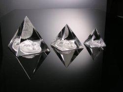 Ambacht van de Piramide van het Glas van het kristal de Gegraveerde voor Herinnering en Bevordering