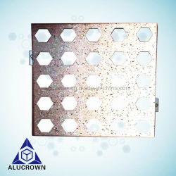 Orifício perfurado de grãos de pedra de metal de folha de alumínio usado para revestimento de parede exterior