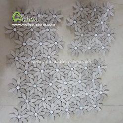 Flower mosaicos de mármore cinzento para pisos e paredes Bathoon de cozinha