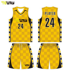 Groothandel Custom Sublimation Printed Embroidered Home Shirts Basketbal Jerseys