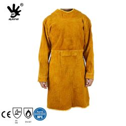 Tablier de soudage en cuir avec manches longues de vache tablier ignifuge des vêtements de sécurité pour les soudeurs