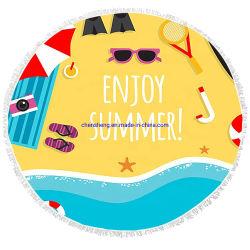 Горячая продажа ткань из микроволокна Логотип моды круг раунда пляж полотенце