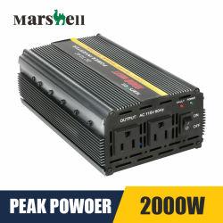أقصى قوة للعاكس الكهربي للسيارة Ms1000 من Marshell 2000 12 فولت إلى التيار المتردد 115 فولت/220 فولت تيار متردد موجة جيبية العاكس جهد العاكس للسيارة المحول