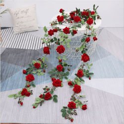 De zijde de Kunstbloem Rotan 95cm toenam nam Wijnstok voor de Decoratie van de Muur toe