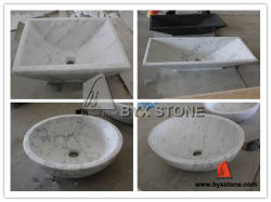 BathroomのためのカラーラWhite Marble Vanity Wash Sink