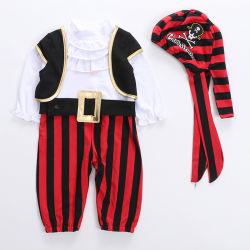 Baby-Piraten-Bodysuit, Kind Stripes Kapitän Costume mit Weste, Schutzkappe und Riemen, Kleinkind-Spielanzug Esg16399
