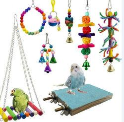 8 Bird Parrot Brinquedos Mastigação Giro Travando Bell Cage Hammock brinquedo para pequenos Periquitos Cockatiels Conures Papagaios Amor Tentilhões Aves12584 ESG