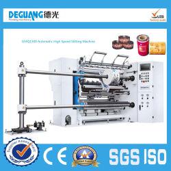 Aufschlitzende Ausschnitt-Slitter Rewinder Hochgeschwindigkeitsmaschine für Plastikfilm (Modell GSFQ1300)