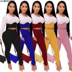 二つの部分から成ったセットの女性の長い袖のトラックスーツの偶然の女性のズボンの固体二つの部分から成ったセットに一致させる標準的なカラー