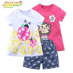 Les enfants de haute qualité de l'été de deux ensembles de vêtements décontractés Set fille bébé fille Costume Outfit Short Sleeve Bébé Boutique Jeu le plus récent