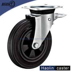 150/160mm vuilnisbak rubberen kunststof kern zwenkwiel met Rem (EN840)