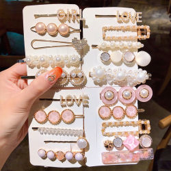 2020台の新しい女性の女の子の真珠の水晶ヘアピン側面クリップ毛の宝石類の粋で幾何学的なHeadwearの方法毛のアクセサリのBarrettes