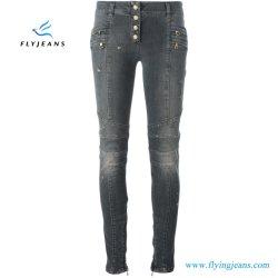 Cinza angustiado de algodão Stretch Biker Jeans mulheres/raparigas Skinny (calças de ganga E. P. 420)
