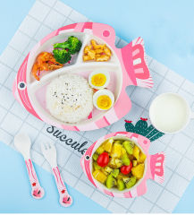 BPAは食品等級のタケファイバーの子供の赤ん坊の食事用食器セットの食事用器具類テーブルウェア台所用品環境に優しい5 PCSを解放する