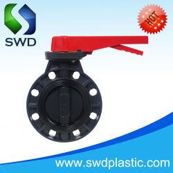 Les vannes à papillon PVC DIN Niveau de la norme JIS ANSI & Type d'engrenage à vis sans fin