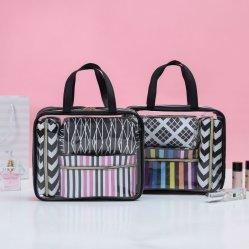 Mala de viagem mulheres Sacola grande de PVC claros 3 pequena bolsa de fecho de função Impressão completa Makeup Bag