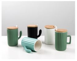 270ml céramique personnalisée des tasses à café avec couvercle et cuillère