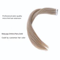 A Rússia Extensões de cabelo de fita de armazenamento de máquina Reta Remy loira trama de pele de PU fita invisível 40PC 22polegadas de cabelo humano